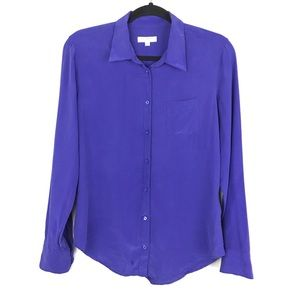 Equipment Femme Purple Silk Button Blouse Sz Large
